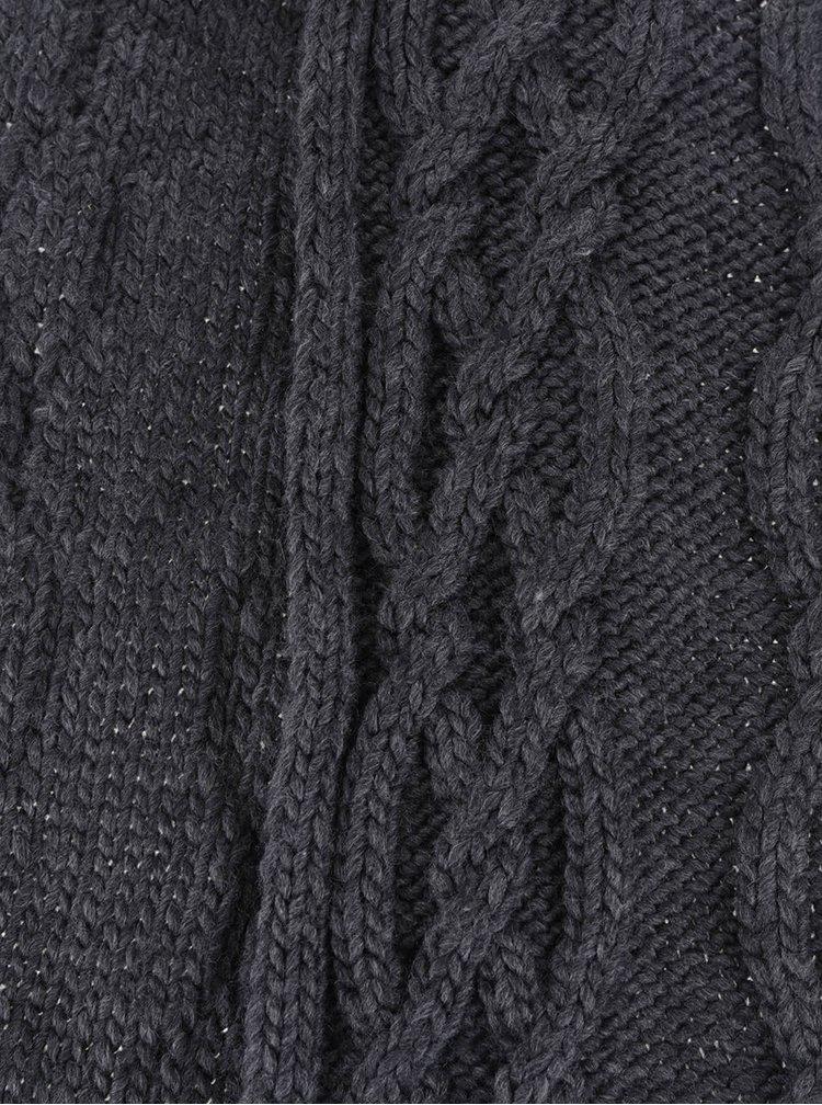 Tmavě šedá pletená šála s třásněmi Dorothy Perkins
