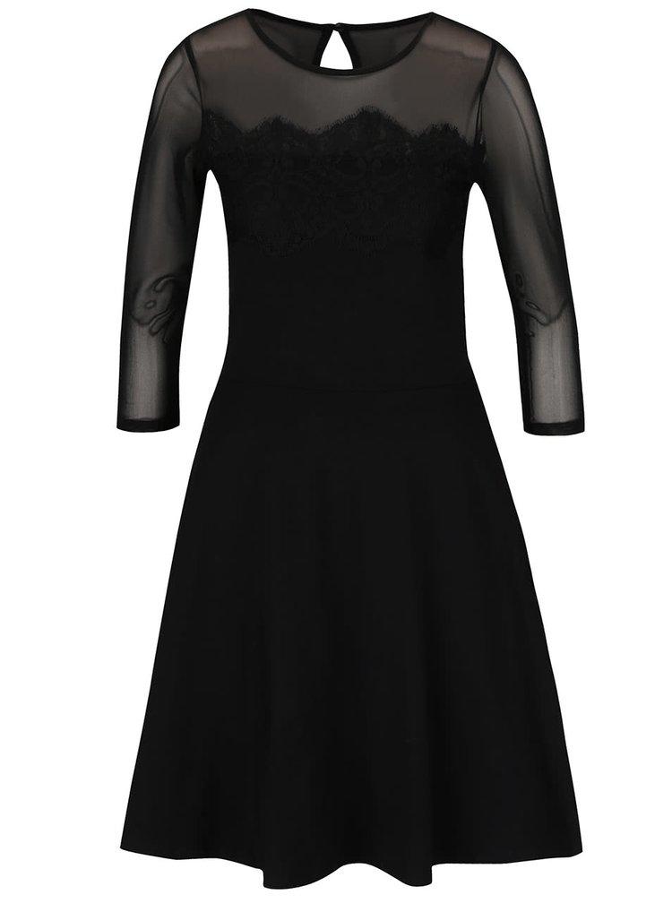 Černé šaty s krajkovým topem a 3/4 rukávem Dorothy Perkins