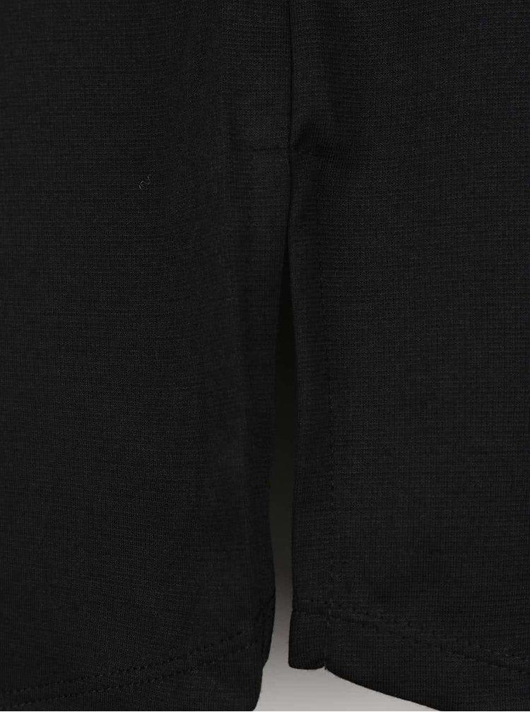 Čierne šaty s patentmi v dekolte, opaskom a 3/4 rukávmi Dorothy Perkins