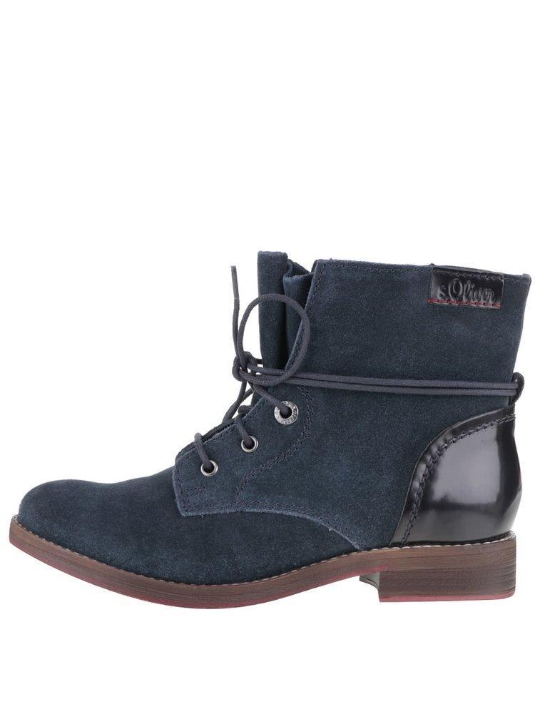 Tmavomodré dámske semišové členkové topánky s.Oliver