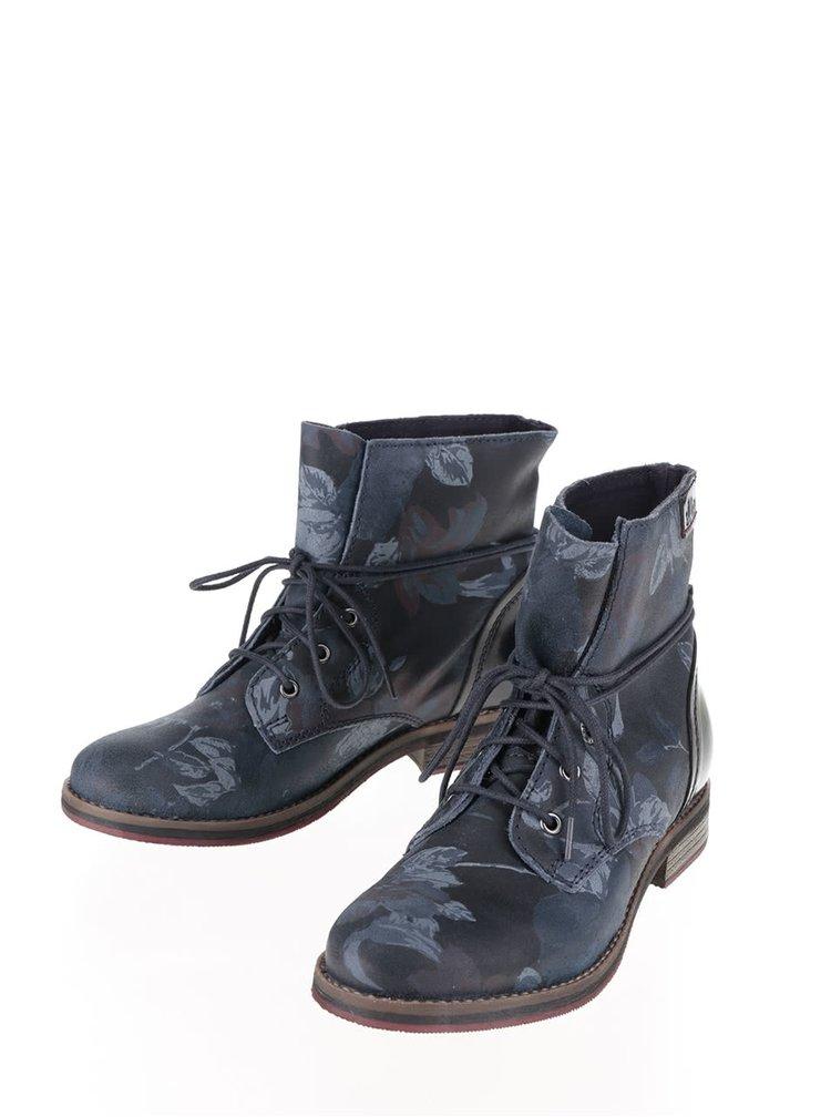 Tmavomodré dámske kožené členkové topánky so vzorom s.Oliver
