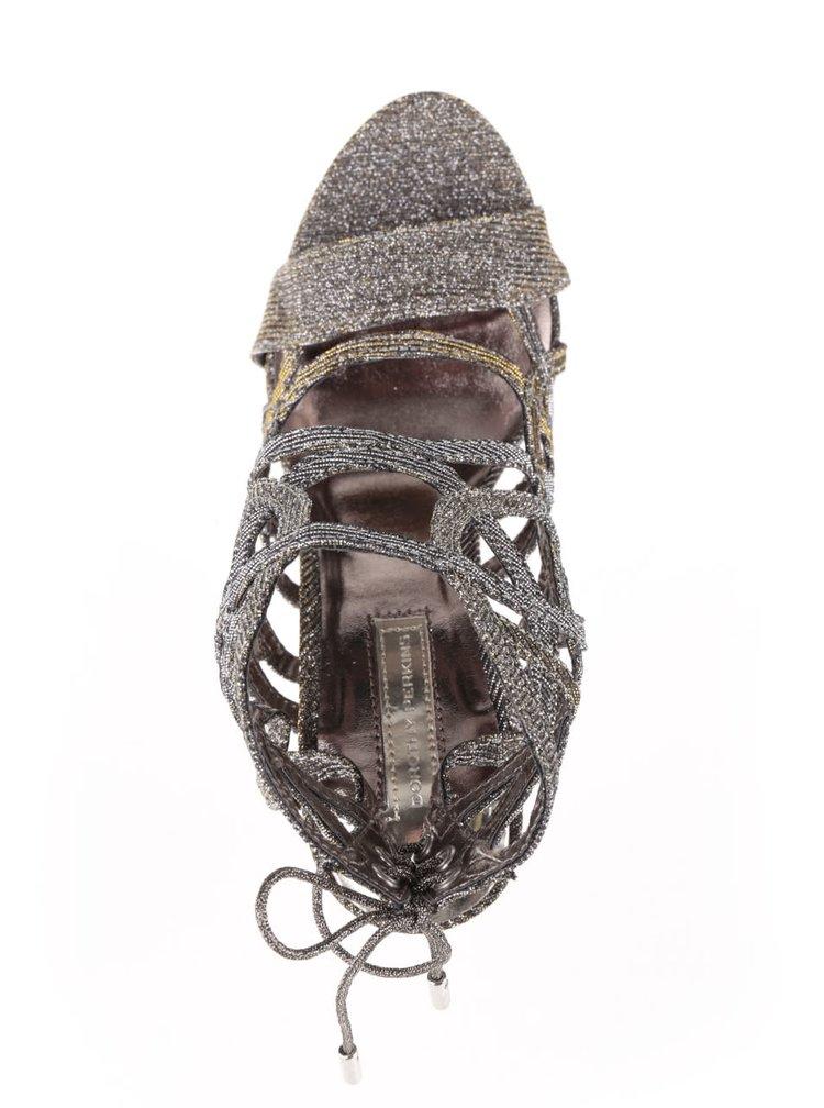 Sandály ve zlaté barvě na jehlovém podpatku Dorothy Perkins