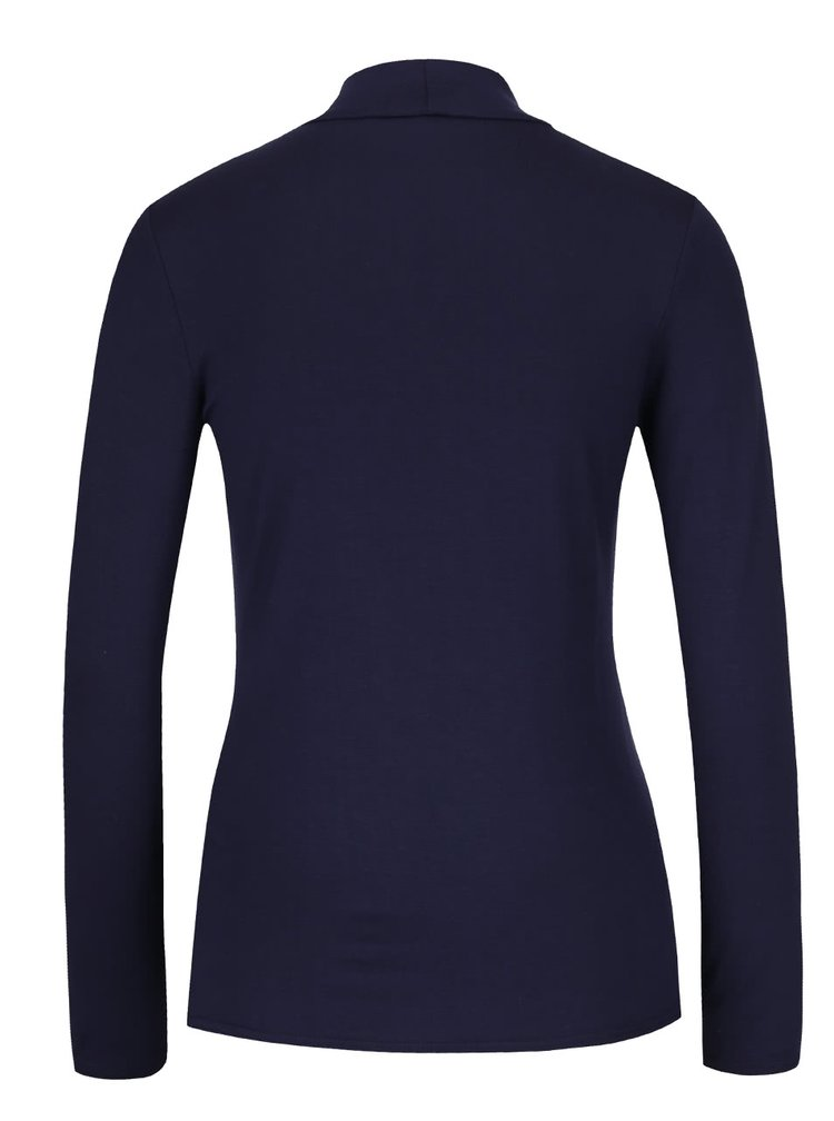 Tmavomodré tričko so stojatým golierom Dorothy Perkins