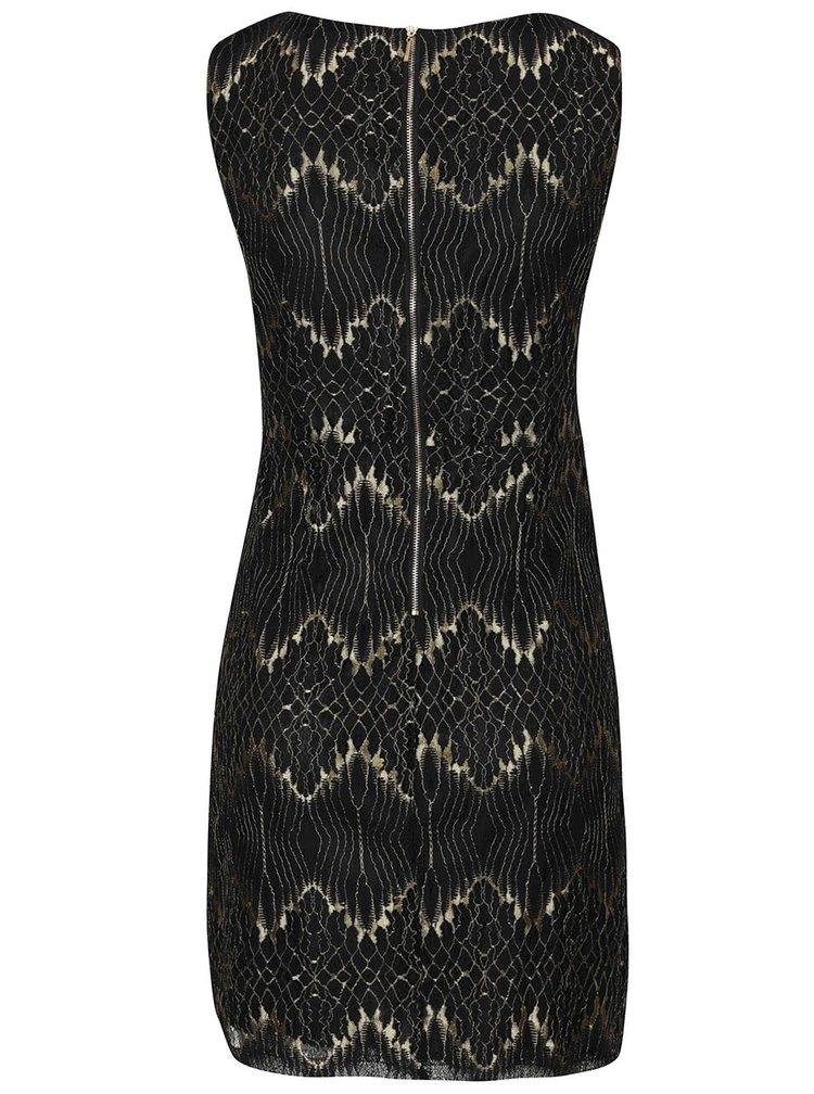 Černé krajkové šaty se vzory ve zlaté barvě Mela London