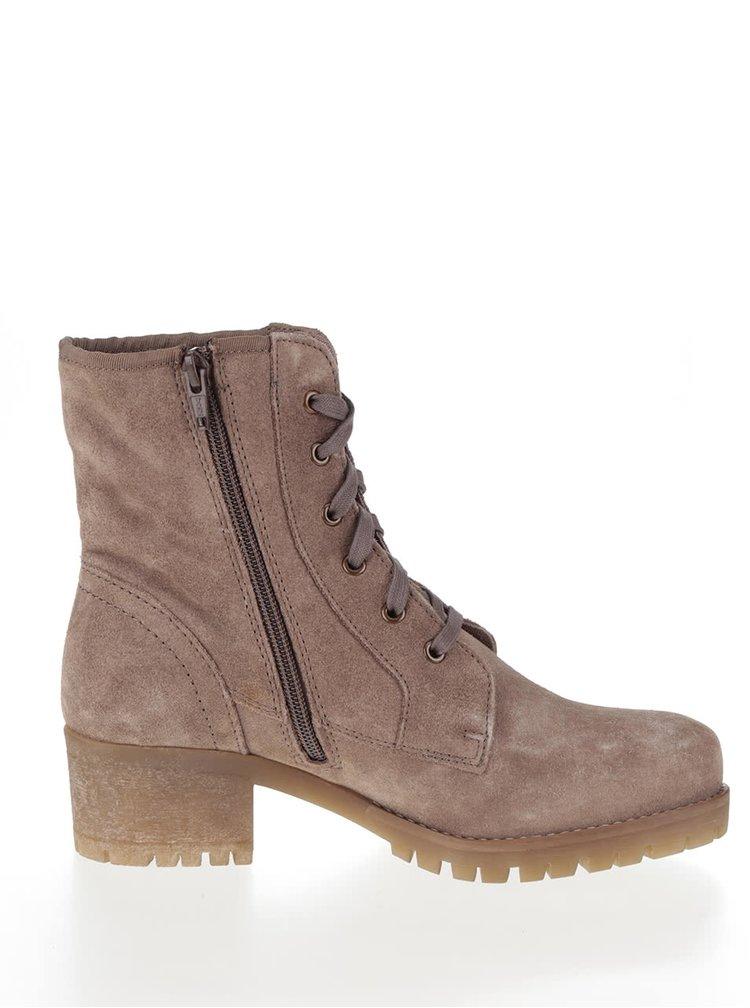Hnédé dámské semišové kotníkové boty s.Oliver