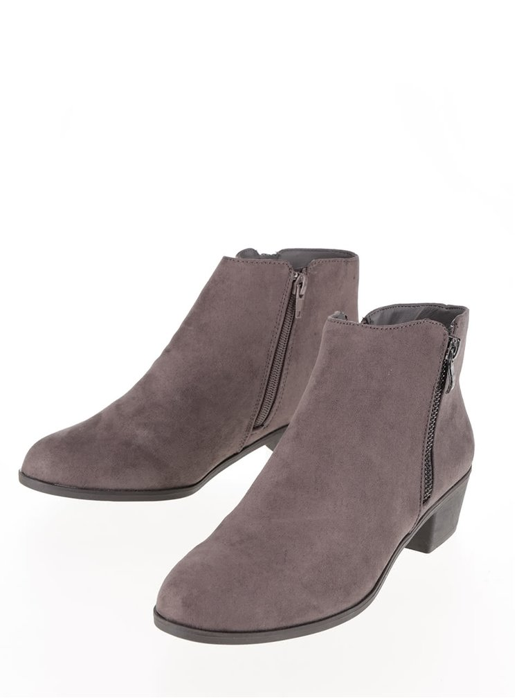 Šedé kotníkové boty v semišové úpravě Dorothy Perkins