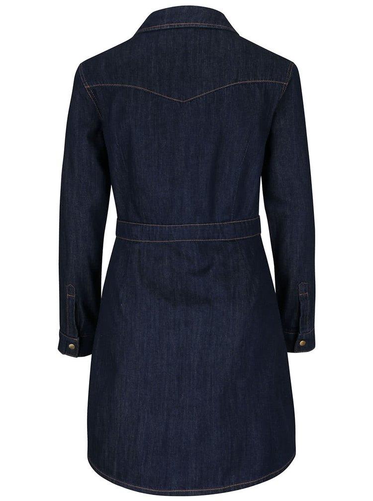 Rochie cămașă albastru închis din denim Dorothy Perkins cu broderie florală
