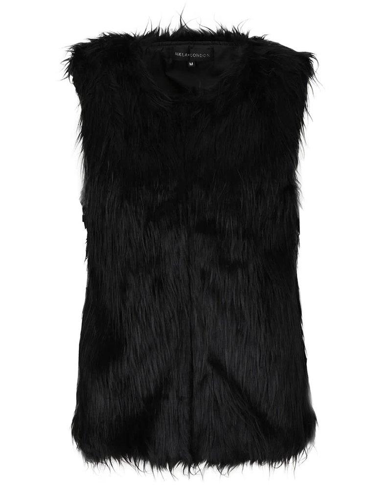 Čierna vesta s umelým kožúškom Mela London