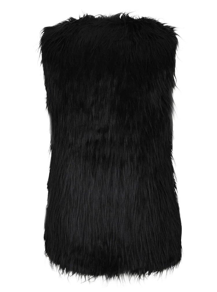 Černá vesta s umělým kožíškem Mela London
