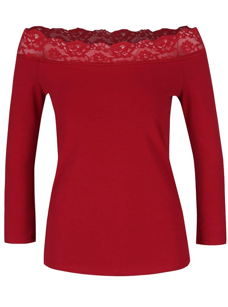 Červené tričko s odhalenými rameny a krajkou Dorothy Perkins