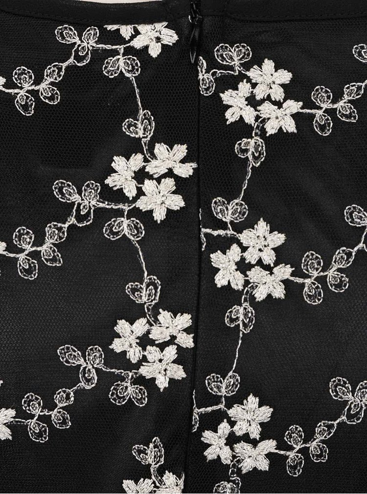 Rochie neagra cu broderie florala Mela London