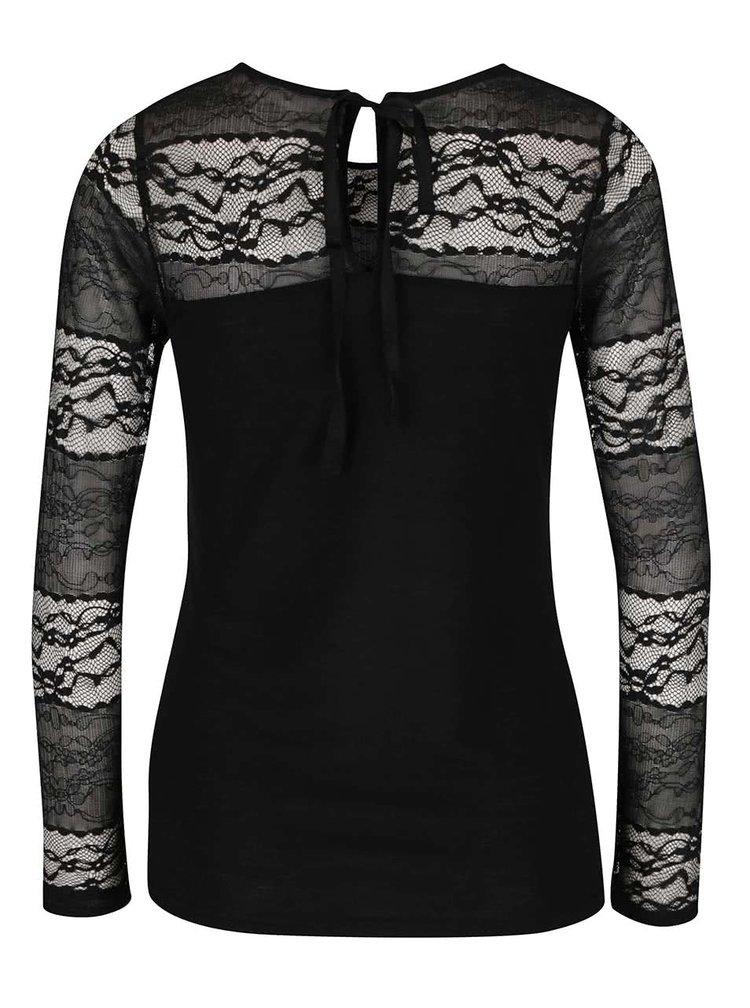 Čierne čipkované tričko s dlhými rukávmi Dorothy Perkins