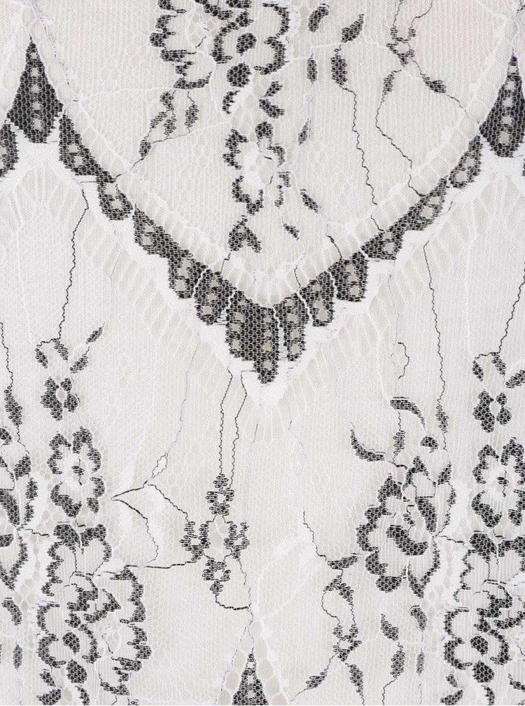 Krémová krajková halenka s černým límečkem Dorothy Perkins