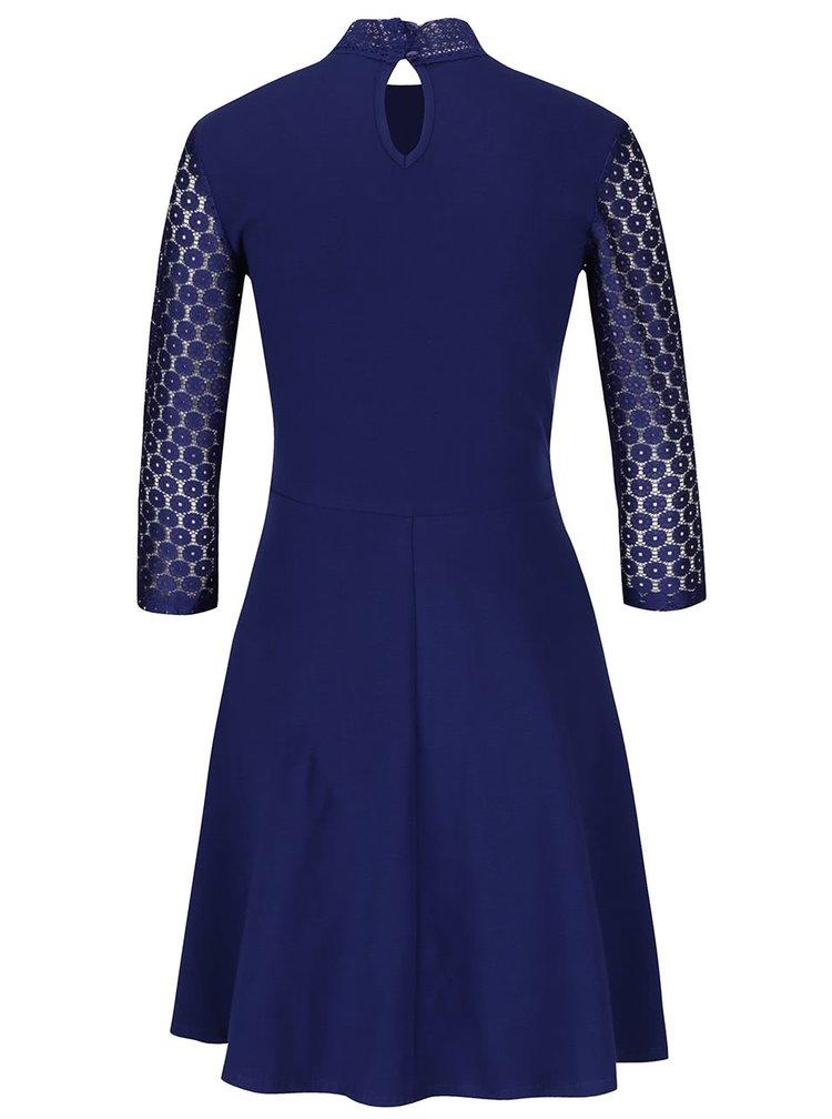 Modré šaty s krajkovým topem Dorothy Perkins