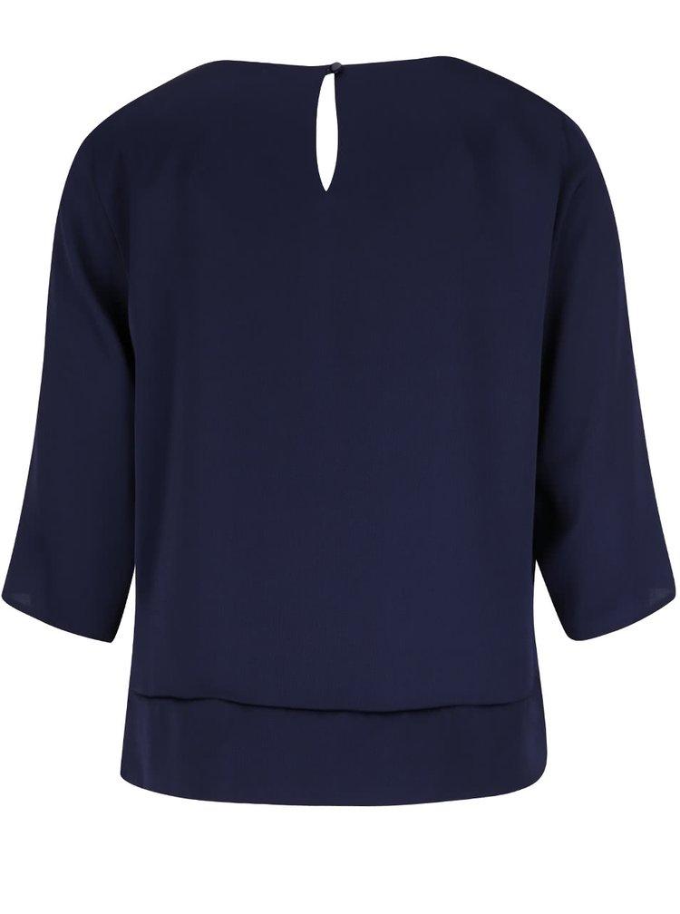 Tmavě modrá volná halenka s 3/4 rukávy a uzlem Dorothy Perkins