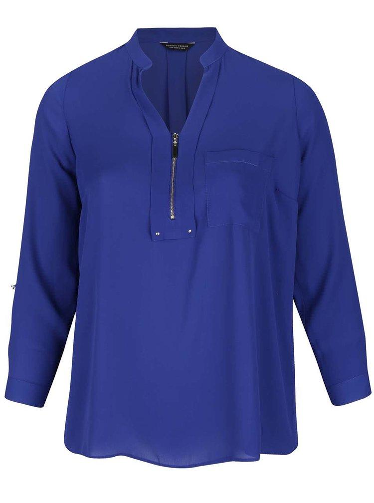 Modrá halenka se zipem a náprsní kapsou Dorothy Perkins Curve