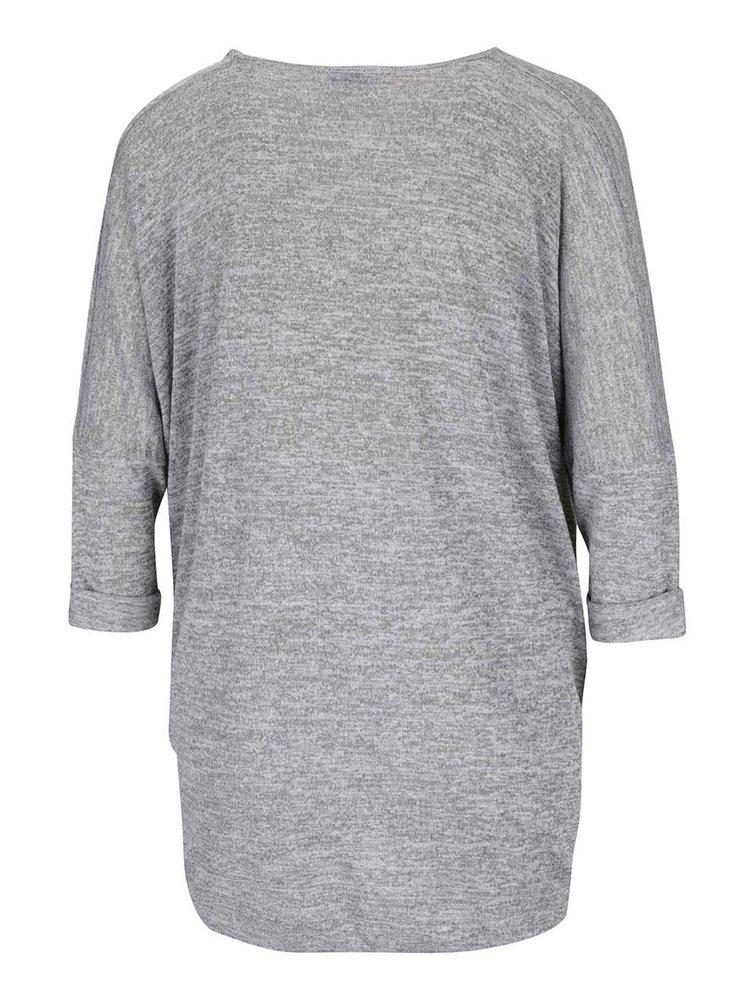 Šedé žíhané těhotenské/kojící tričko s překládanou přední částí Dorothy Perkins Maternity