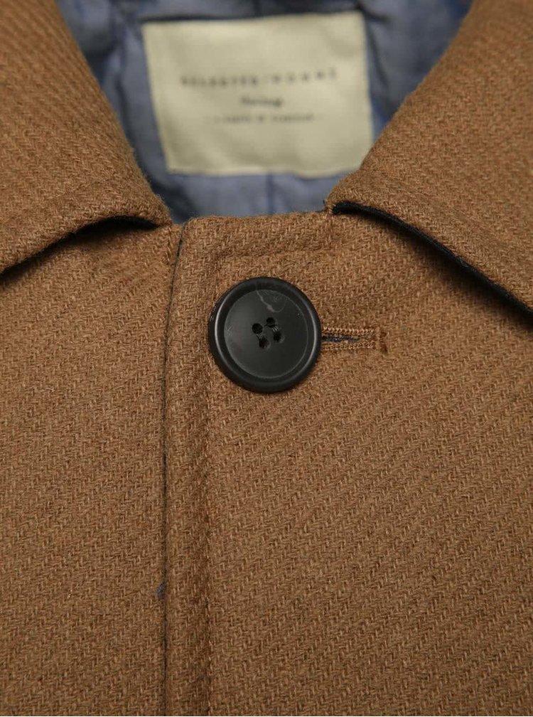 Světle hnědý kabát s příměsí vlny Selected Homme New Mash