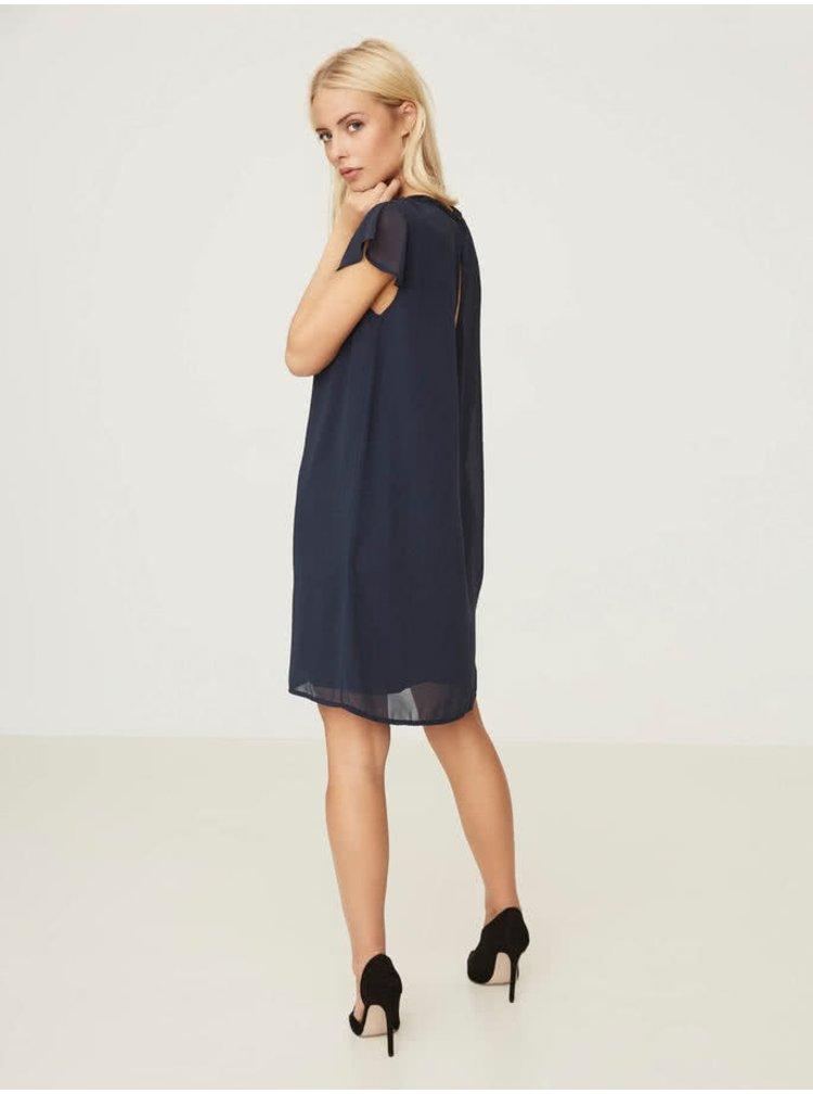 Tmavě modré šaty s výstřihem a zdobením na krku VERO MODA Lita