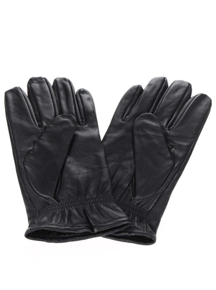 Černé kožené rukavice Selected Homme Jonas