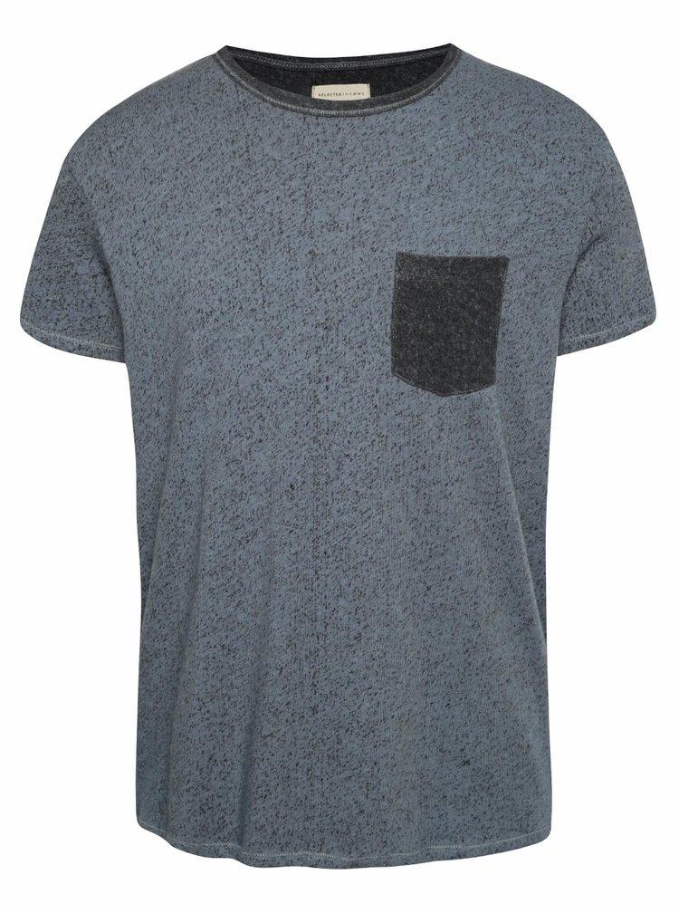 Modré žíhané triko s kapsou Selected Homme Aldwin