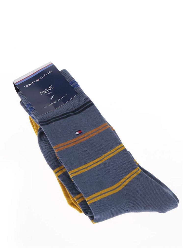 Sada dvou párů ponožek v modré a žluté barvě Tommy Hilfiger