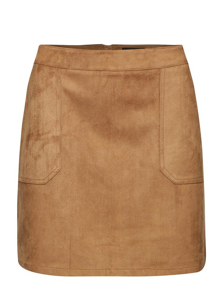Světle hnědá sukně v semišové úpravě s kapsami Dorothy Perkins