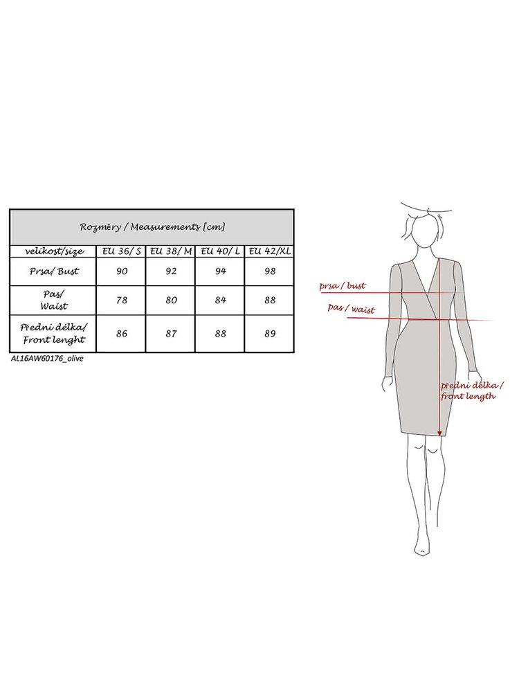 Khaki sametové šaty s překládaným výstřihem Alchymi