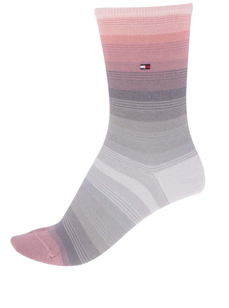 Súprava dvoch párov dámskych ponožiek v ružovej a sivej farbe Tommy Hilfiger