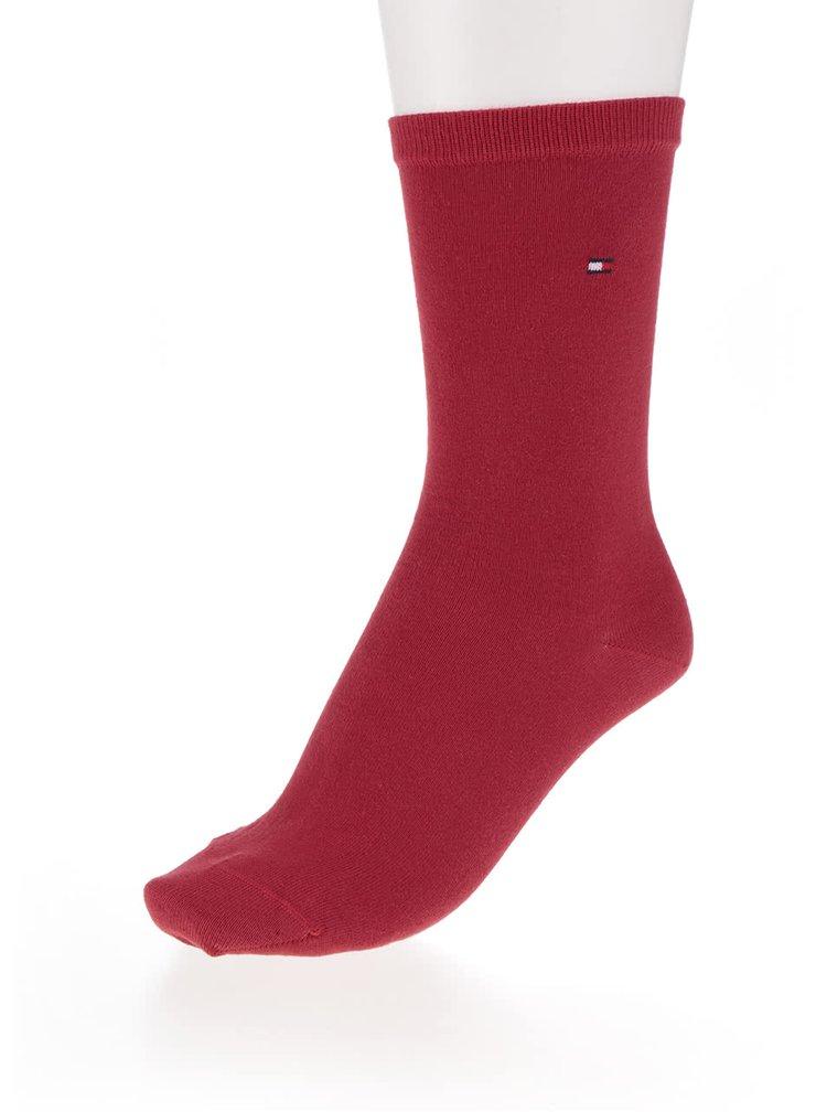 Sada dvou párů dámských ponožek v červené a vínové barvě Tommy Hilfiger