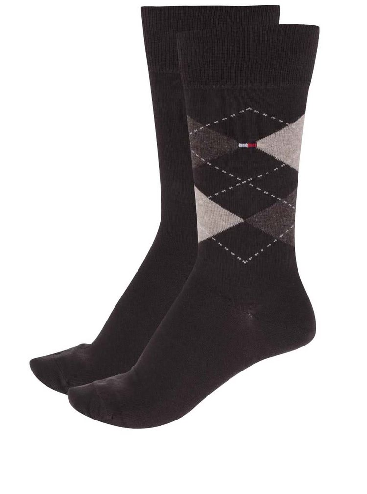 Sada dvou párů ponožek v hnědé barvě Tommy Hilfiger