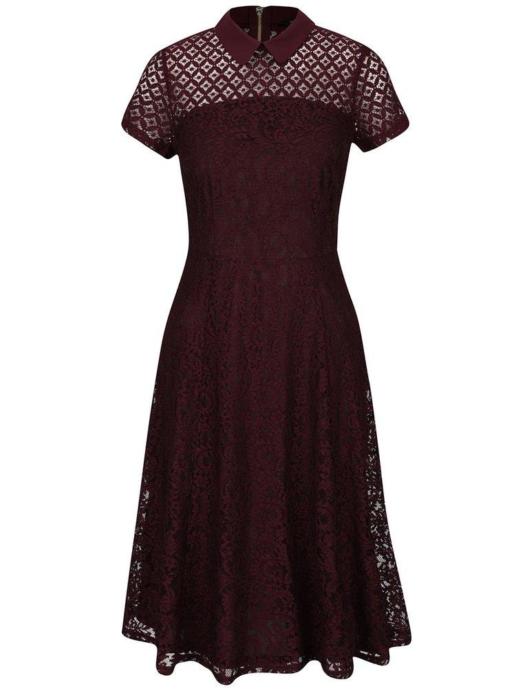 Vínové čipkované šaty s golierom Dorothy Perkins