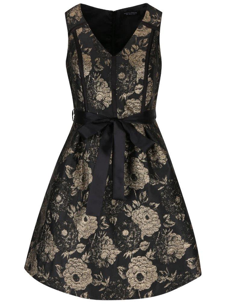 Květované šaty v černé a zlaté barvě Dorothy Perkins