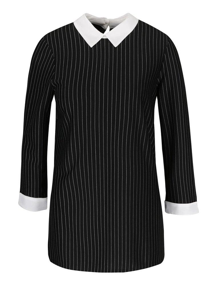 Černá pruhovaná halenka s límečkem  2v1 Dorothy Perkins