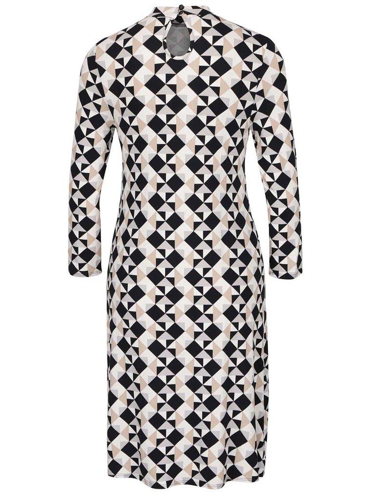 Krémové vzorované šaty s 3/4 rukávy a stojáčkem Dorothy Perkins tall