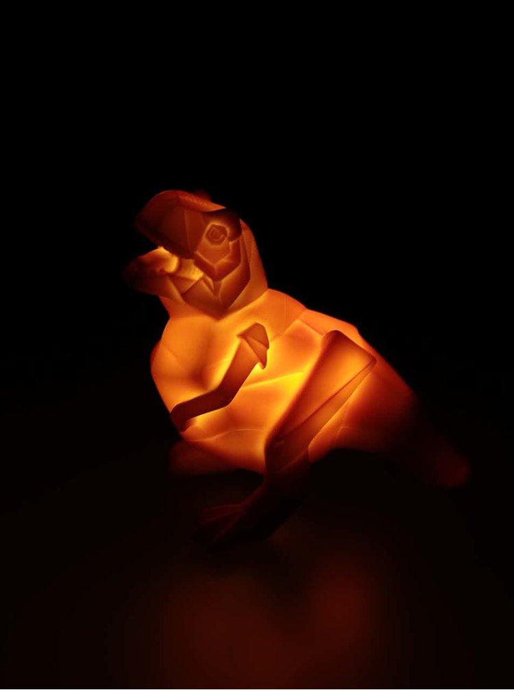 Oranžová malá LED lampa ve tvaru dinosaura Disaster Dinosaur