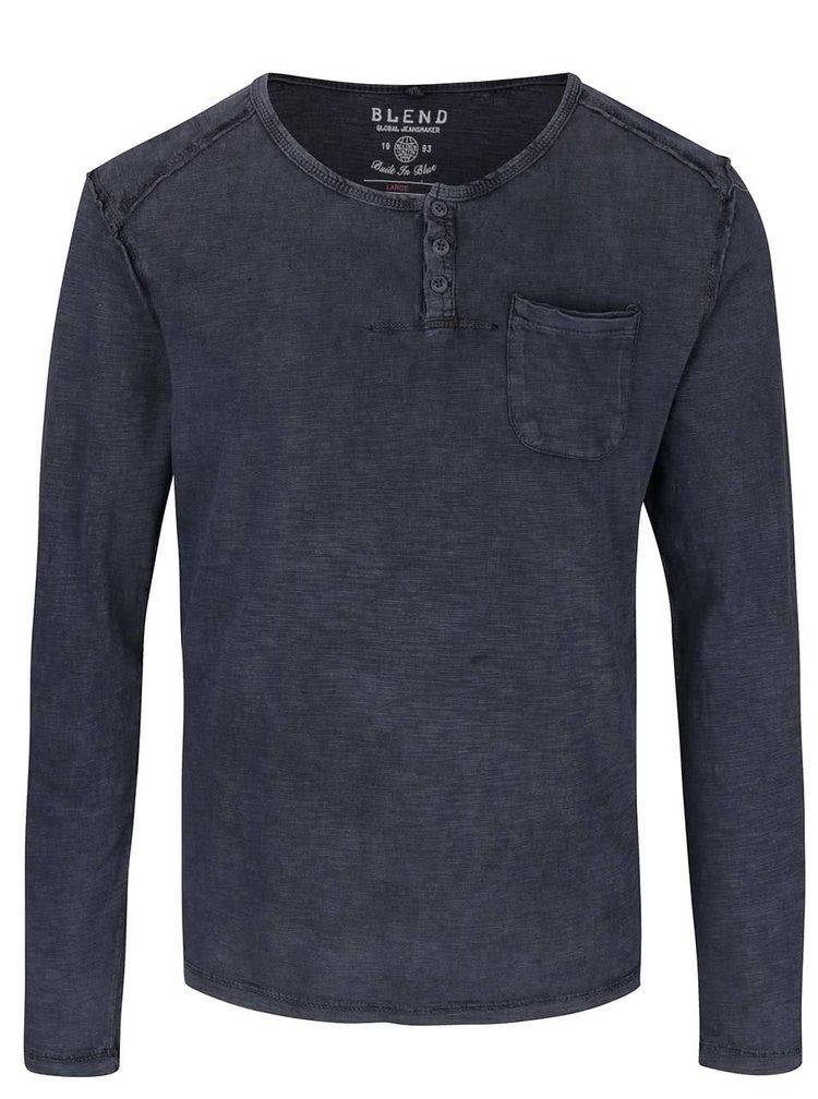 Tmavě modré triko s dlouhým rukávem Blend