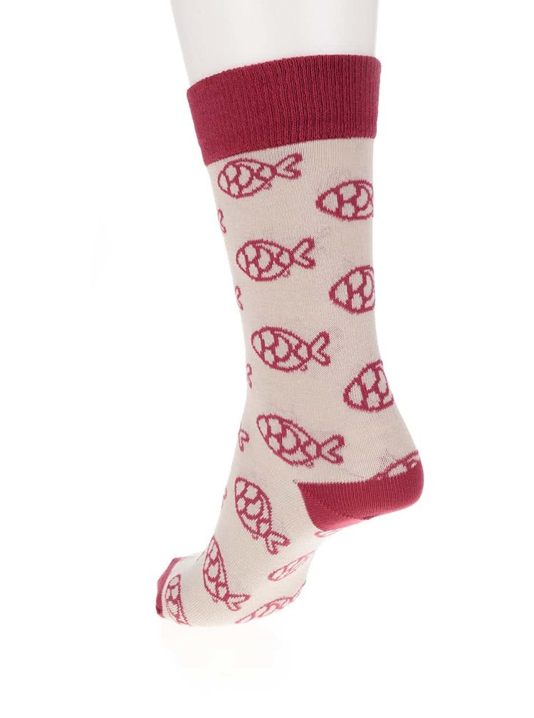 Červeno-béžové ponožky s motivem ryb ZOOT Originál