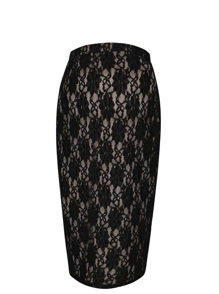 Béžovo-černá těhotenská krajková midi sukně Dorothy Perkins Maternity