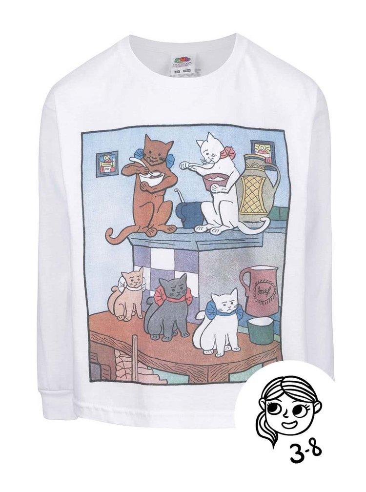 Bílé dětské tričko s dlouhým rukávem ZOOT Kids Jos. Lada Kočky na peci