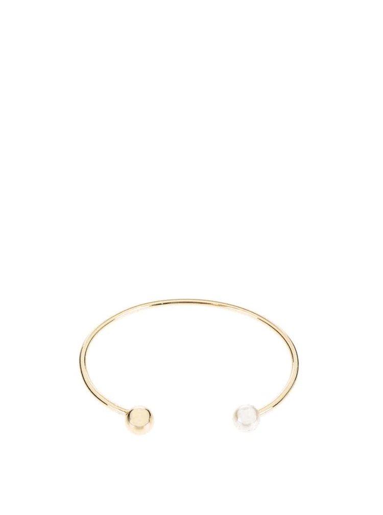 Náramek ve zlaté barvě s krémovou perličkou Pieces Filune