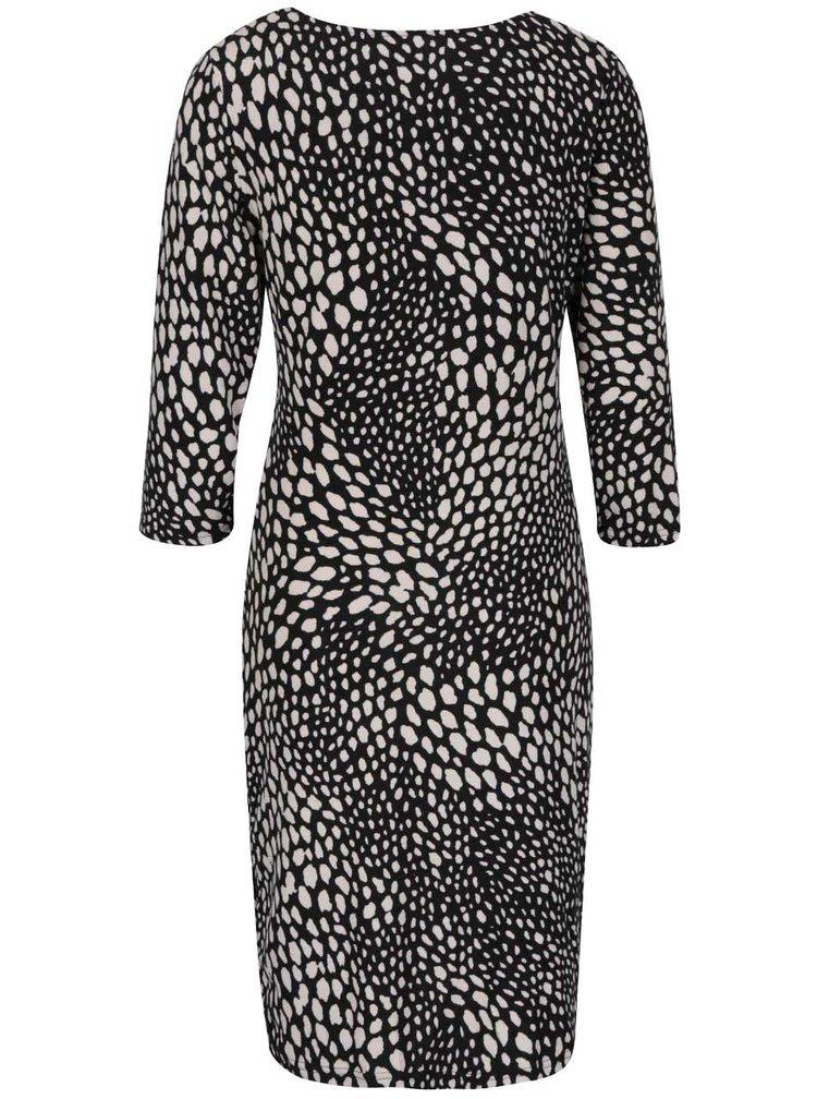 Černé vzorované šaty s 3/4 rukávy Smashed Lemon