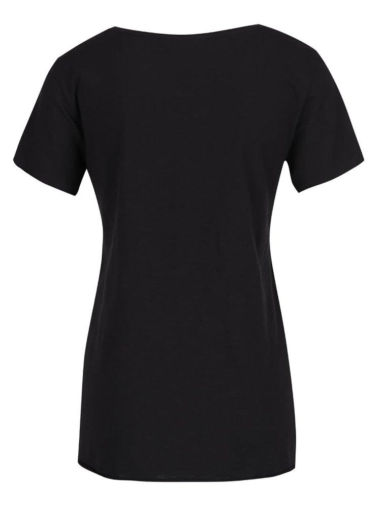 Černé tričko s náprsní vzorovanou kapsou ONLY Easy