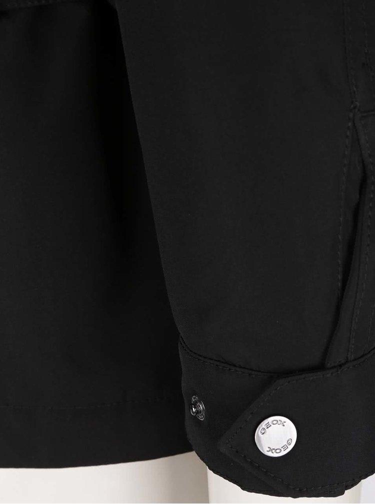 Čierna dámska funkčná bunda s kapucňou a opaskom Geox