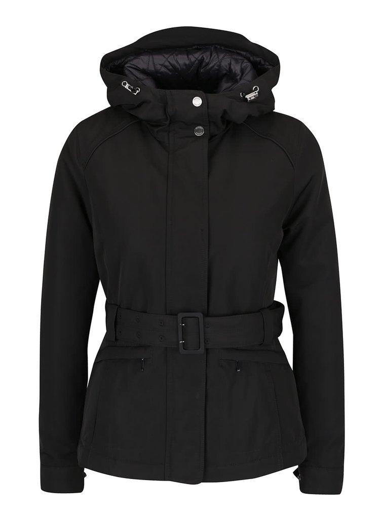Černá dámská funkční bunda s kapucí a páskem Geox