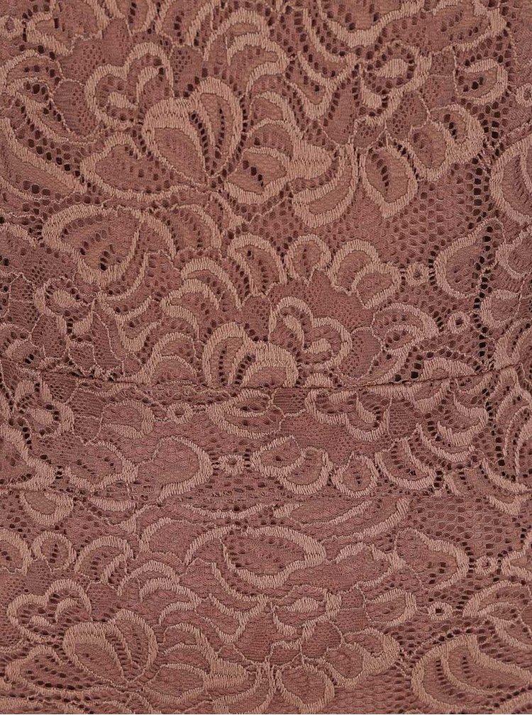Růžovohnědé krajkové šaty ONLY Bobbie