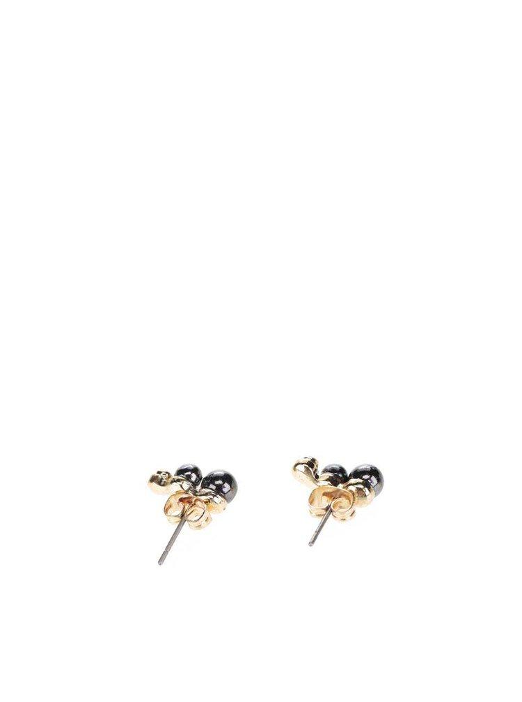 Náušnice ve zlaté barvě s dvěma tmavě šedýma kuličkama Pieces Filune