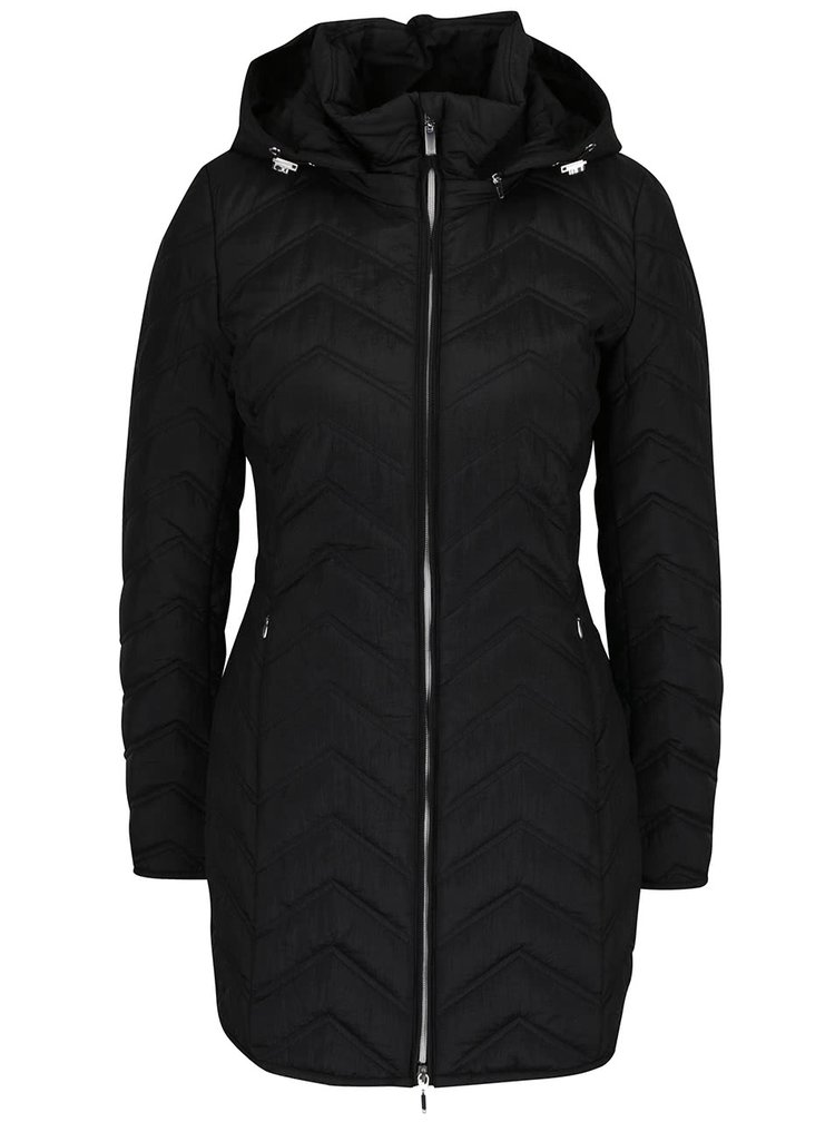 Černý dámský funkční prošívaný kabát s kapucí Geox
