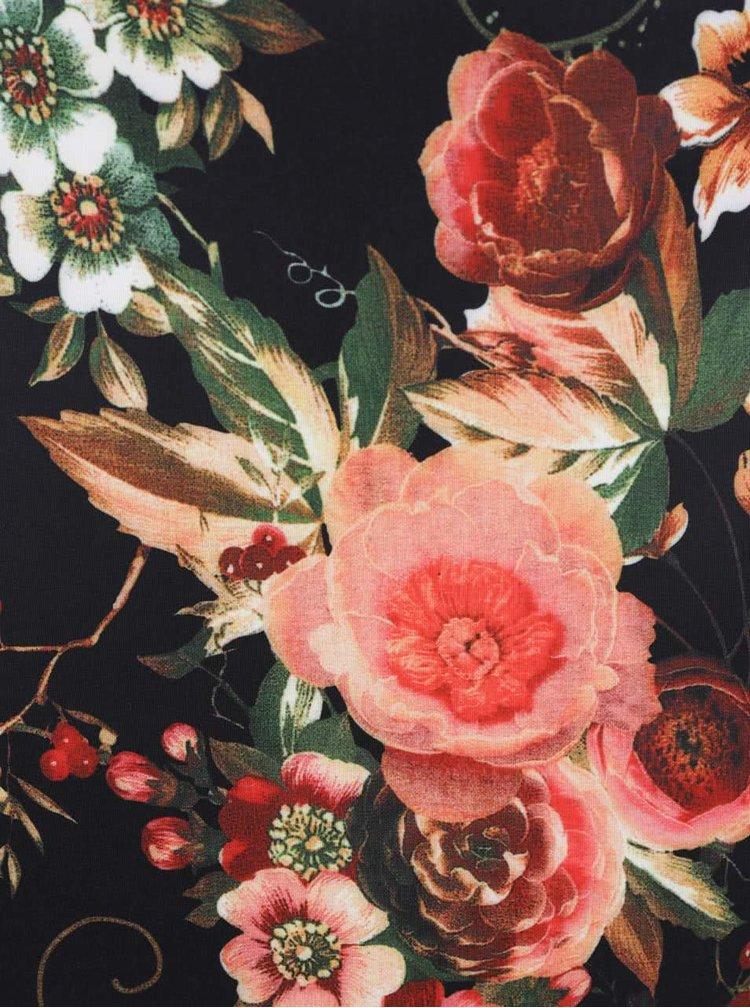 Rochie negru & portocaliu Smashed Lemon cu model floral