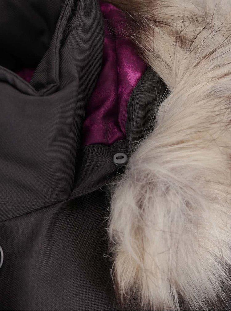 Tmavě šedá bunda s umělým kožíškem ONLY Free